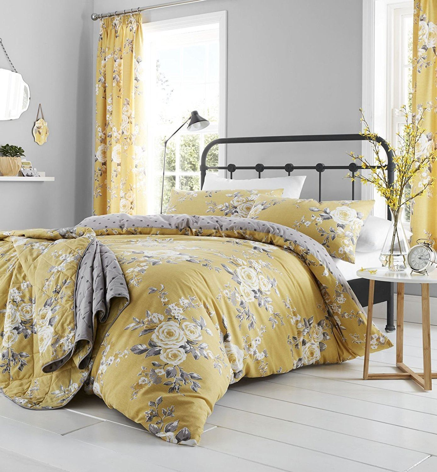 Catherine Lansfield Canterbury Ochre Yellow Floral Duvet