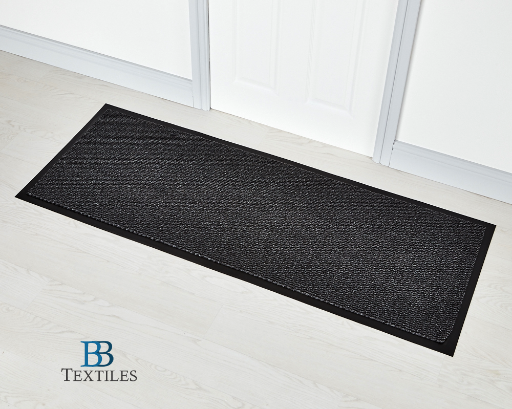 Grey Washable Non Slip Rubber Backed Door Floor Rug Runner