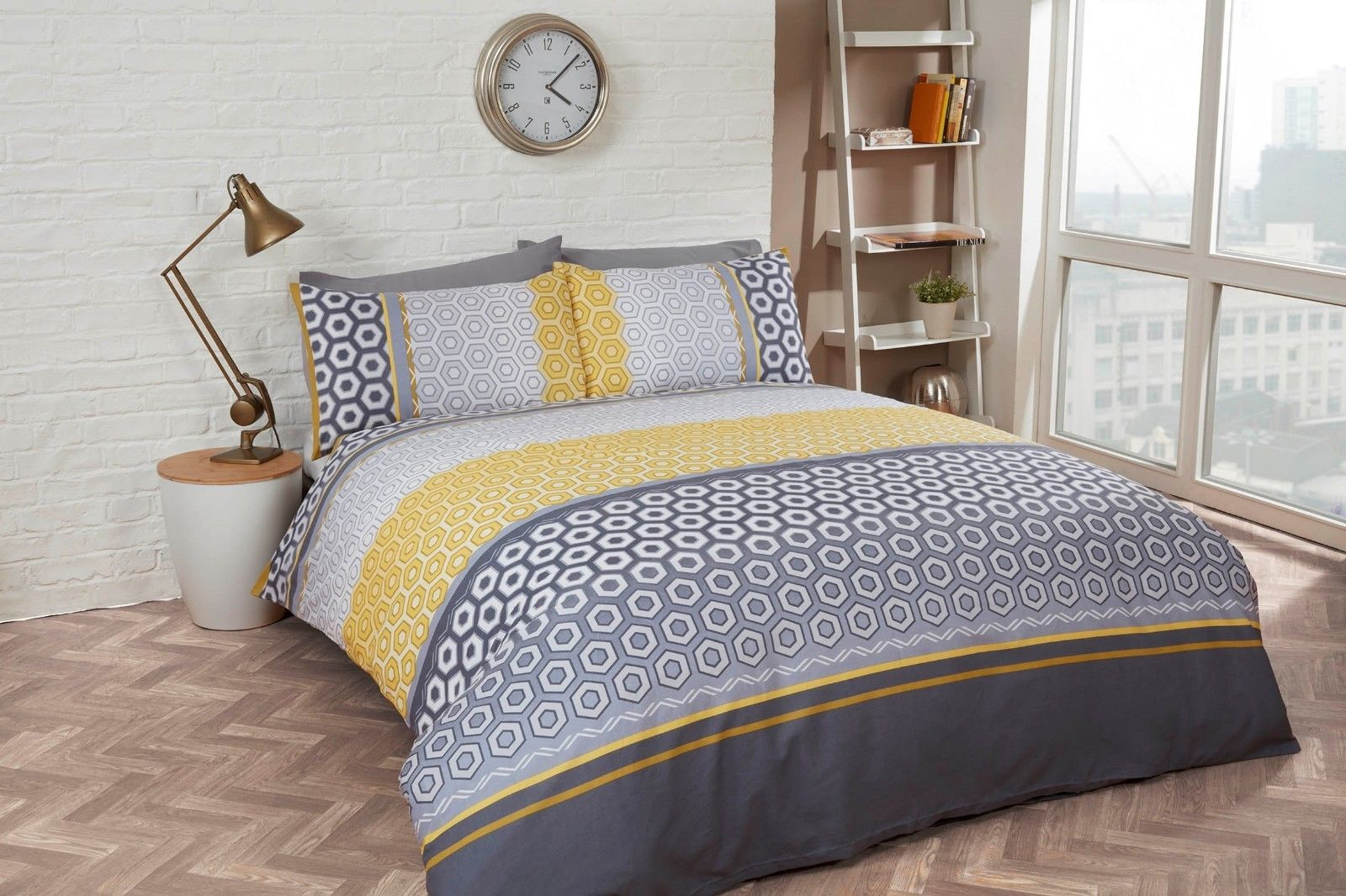 Rapport Barbican Geometric Ochreyellow Grey Duvet Cover Bedding Set