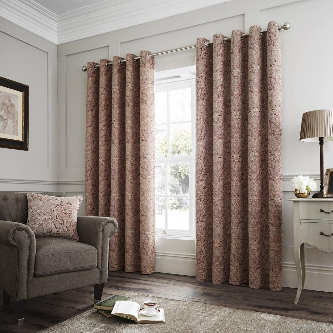 Luxury Designer Curtina Whitcliffe Heavy Weighted Lined Eyelet Top Curtains Multi Terracotta