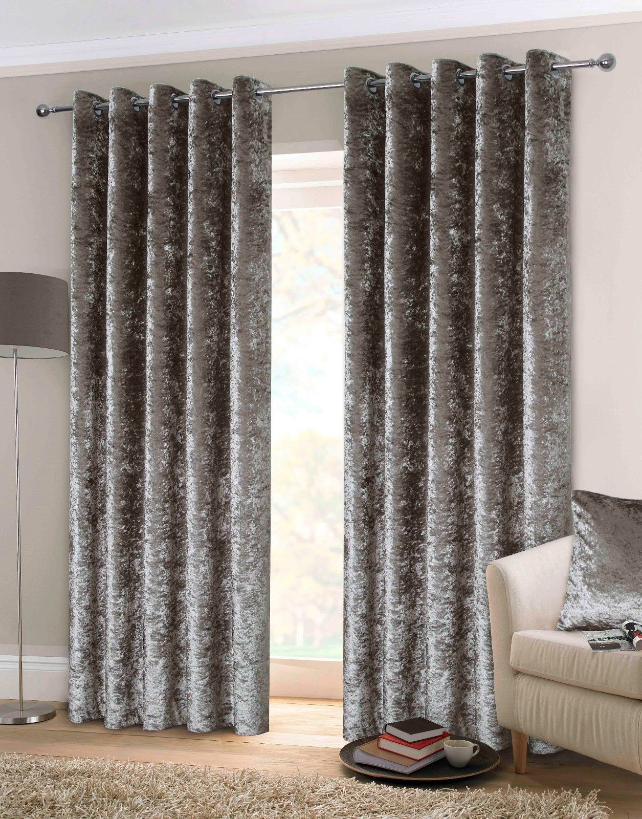 Rapport Luxury Heavy Weight Fully Lined Eyelet Top Crushed Velvet Curtains Silver 4 Sizes Available