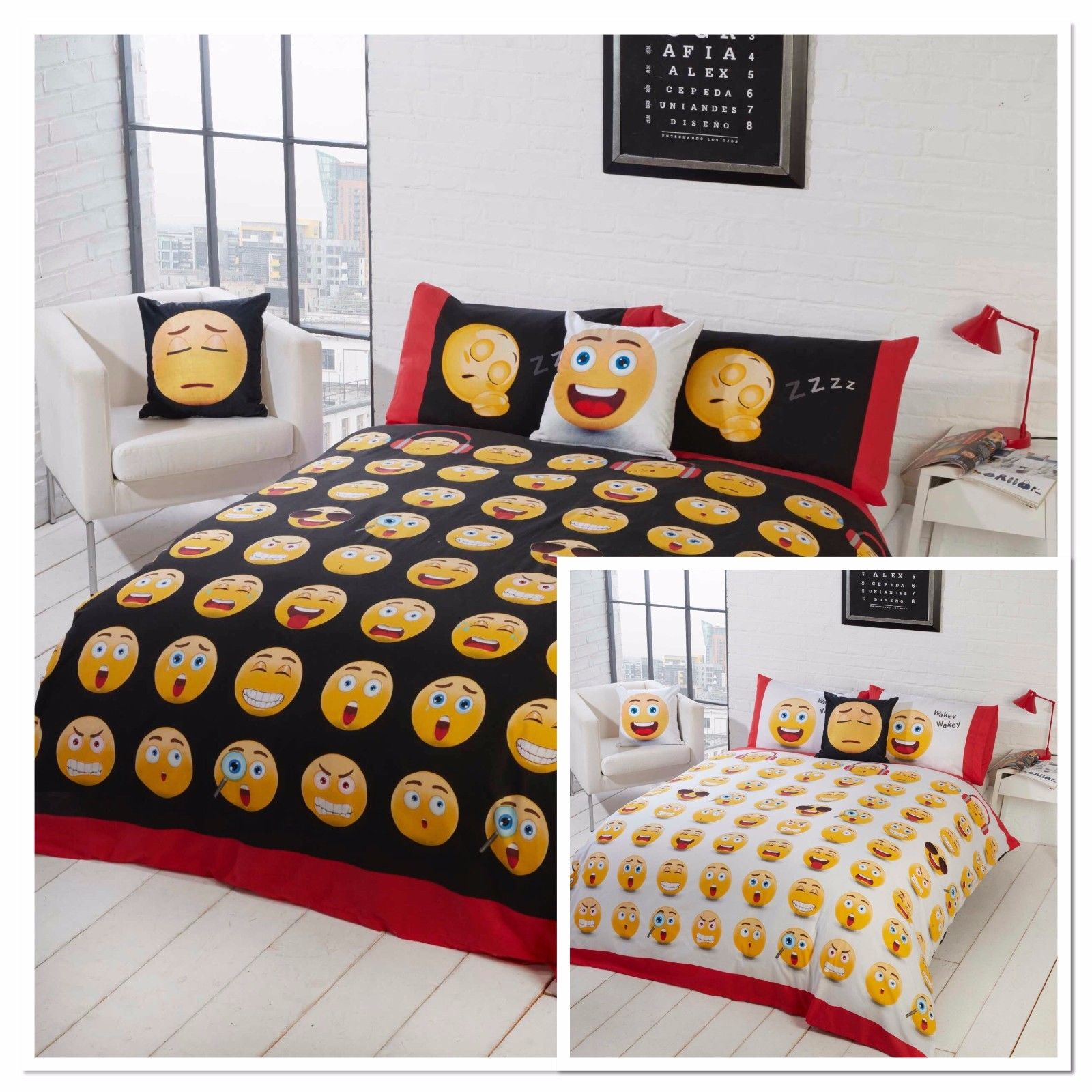 Emoji Duvet Cover Set With Pillowcase King Size Double Single Super Bedding