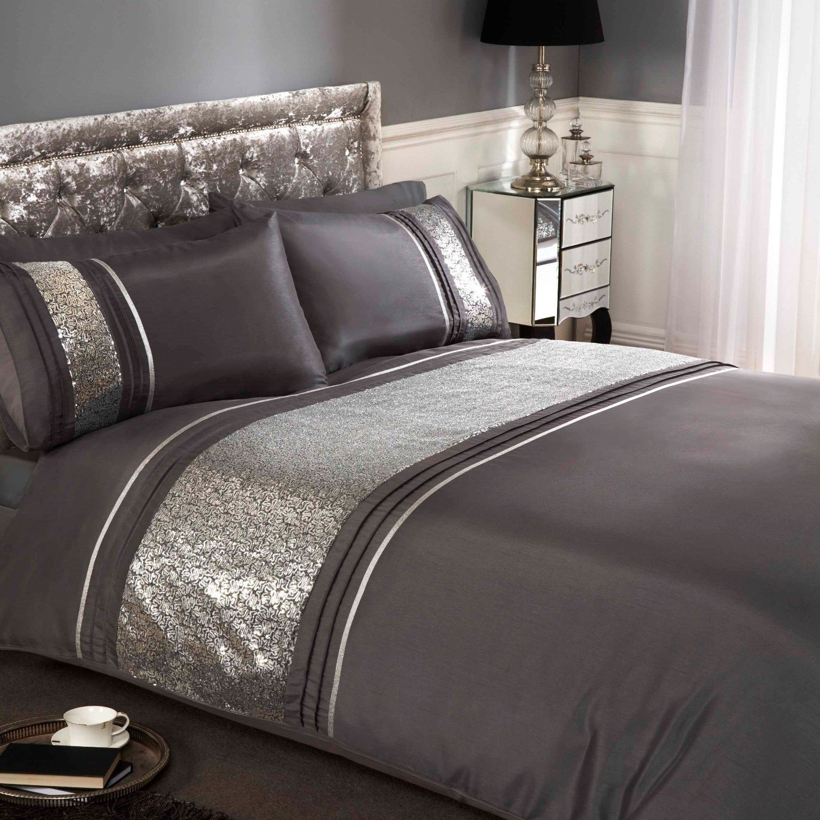 Rapport Ritz Embellished Band Detail Duvet Cover Bedding