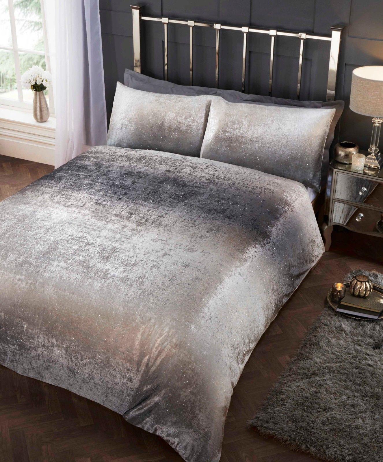 320b21a7b5ded Rapport Crushed Velvet Stardust Shimmer Duvet Cover Bedding Set Silver/Grey.  £24.99 ...