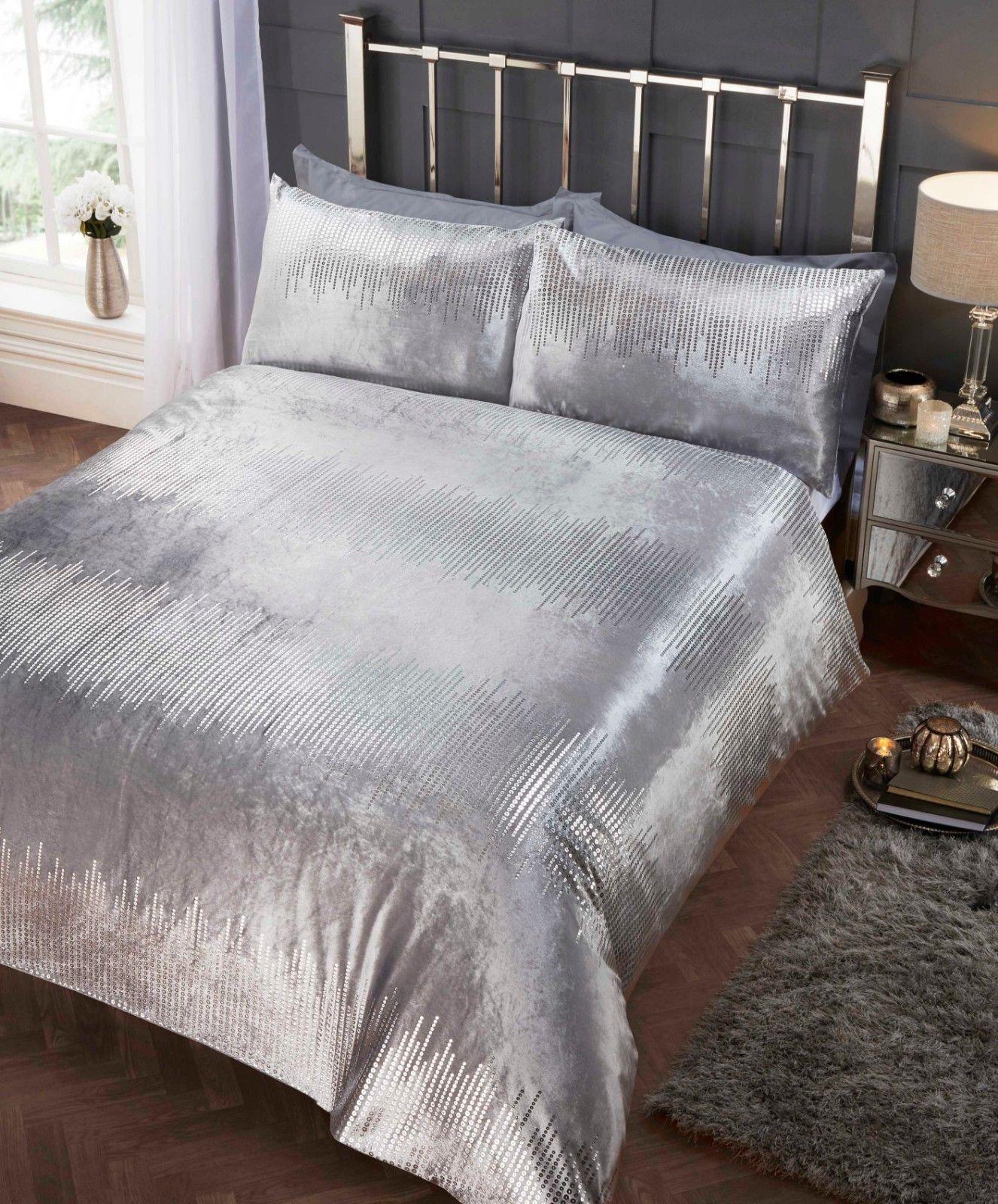 357c73da17a75 Rapport Crushed Velvet Tiffany Sequin Effect Duvet Cover Bedding Set  Silver. £24.99 ...