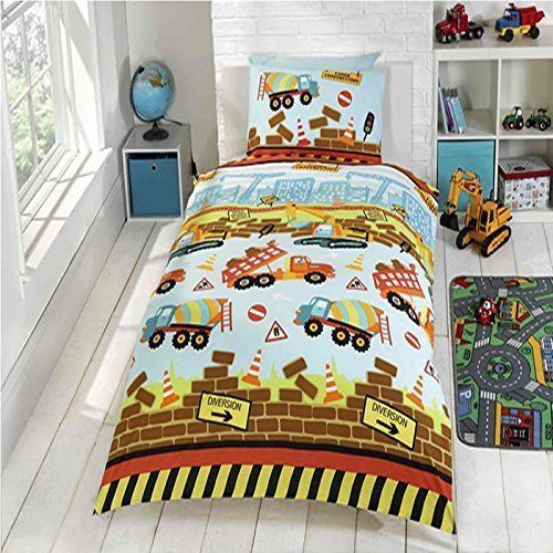 new style 2ae35 19cb8 Rapport Kids Children's Under Construction Digger Duvet Cover Bedding Set  Multi