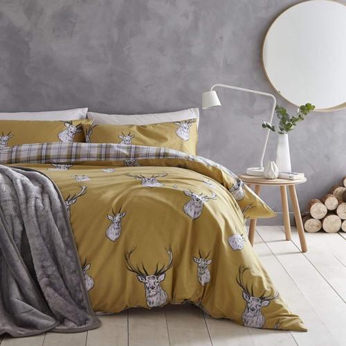 c684bb0ccaa7 Catherine Lansfield Stag Tartan Reverse Easy Care Duvet Cover Bedding Set  Ochre