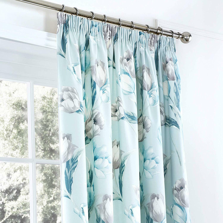 Curtains Dreams /& Drapes Floral Tulip Duck Egg Print Duvet Cover Set Bedspread