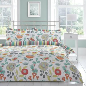 d5324d1dfd11 Fusion Finchley Floral Reversible Stripe Duvet/Quilt Cover Bedding Set Multi