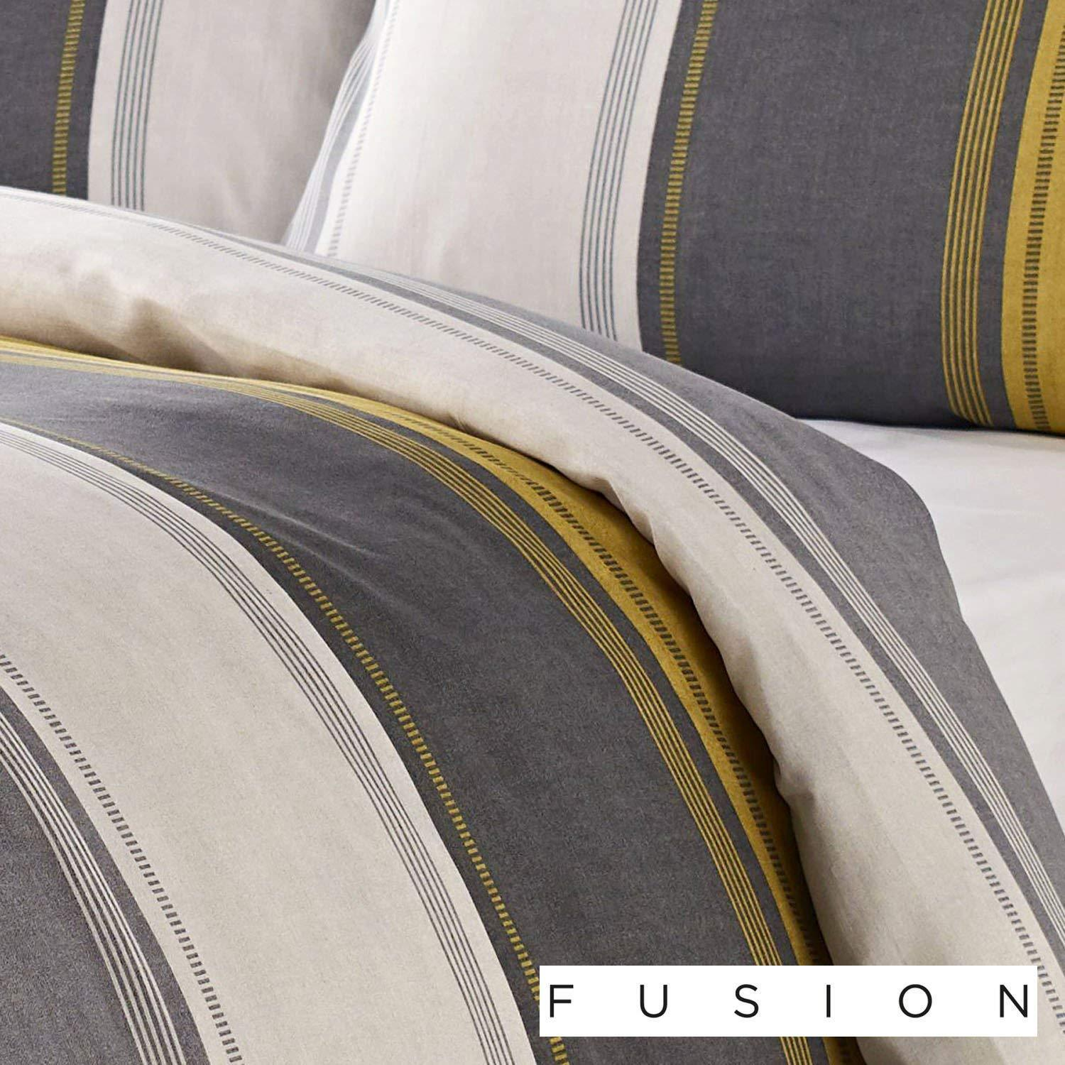 1ee3fe4bcb93 Fusion Betley Wide Stripe Duvet Cover Bedding Set Ochre. £14.99 ...
