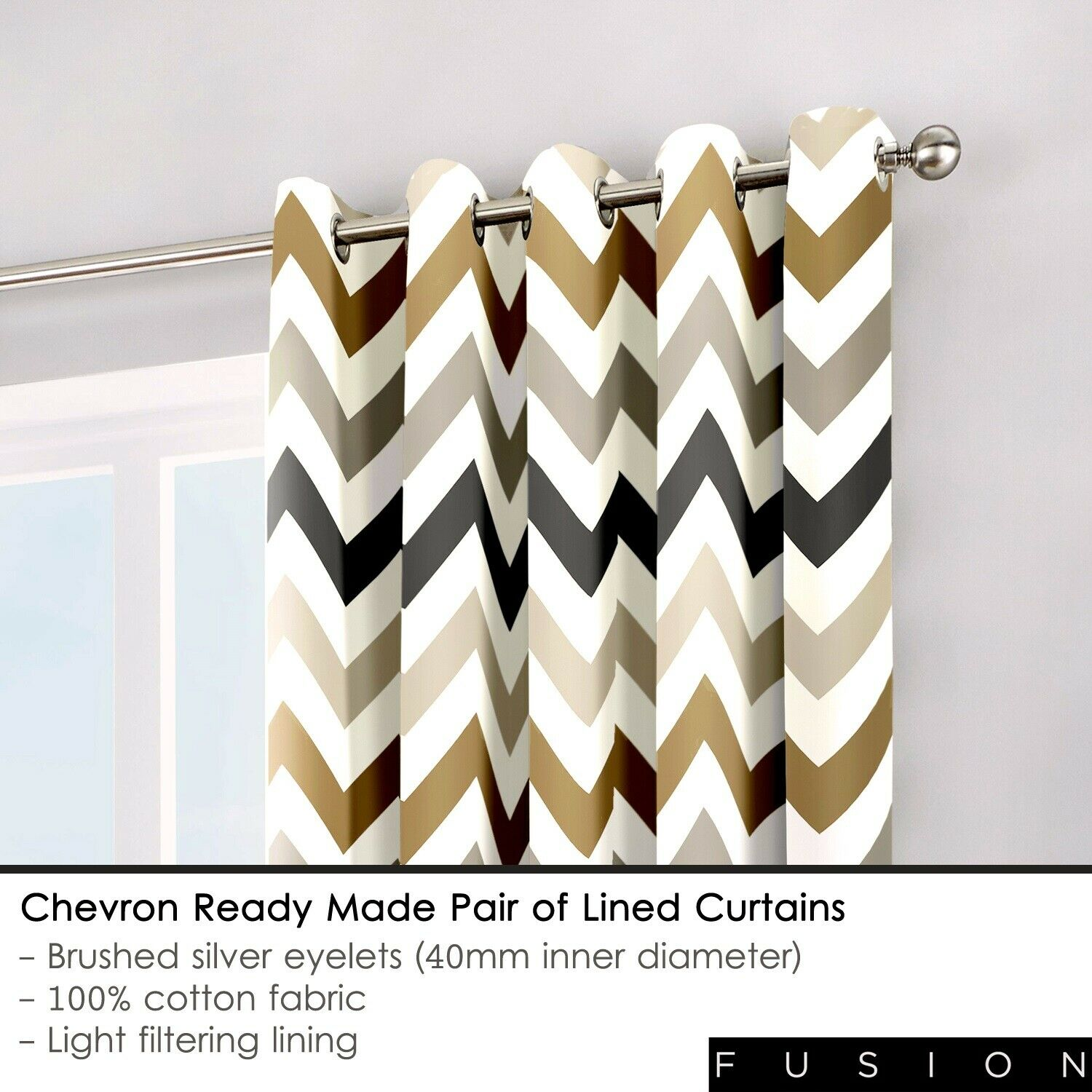 Fusion Chevron 100% Cotton Lined Curtains Window Treatments & Hardware Curtains, Drapes & Valances