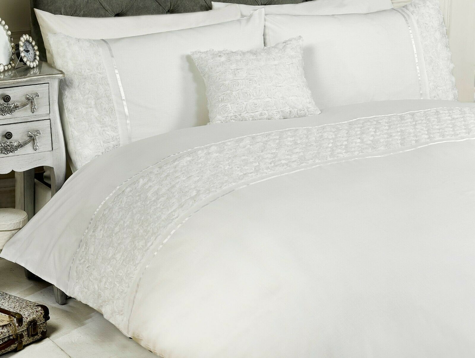 "d843c70600fc Rapport ""Limoges"" Rose Ruffles Style Band Duvet Cover Bedding Set White"
