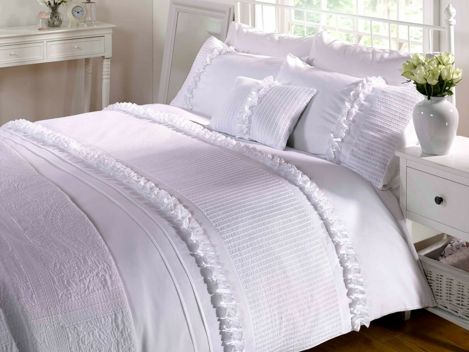 Rapport luxury serenity ruffles embroidered duvet cover bedding set white