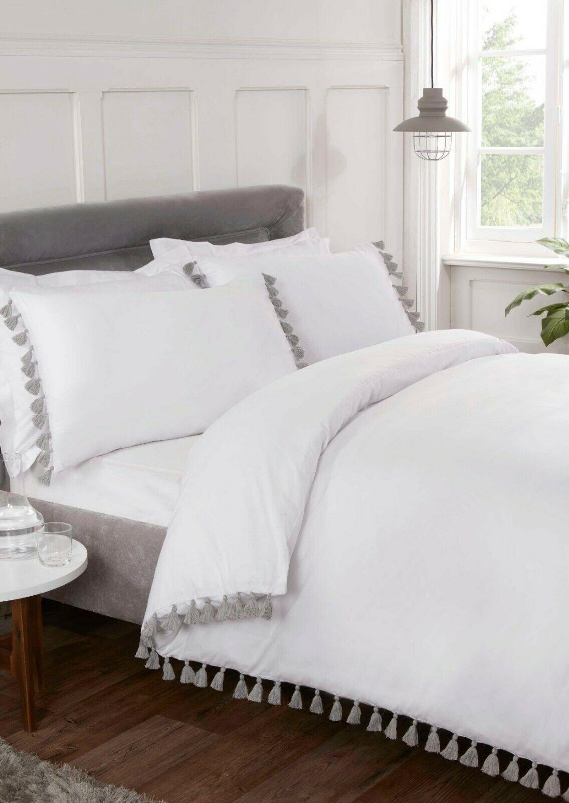 Rapport Tassels Duvet Cover Bedding Set White Or Grey Bb