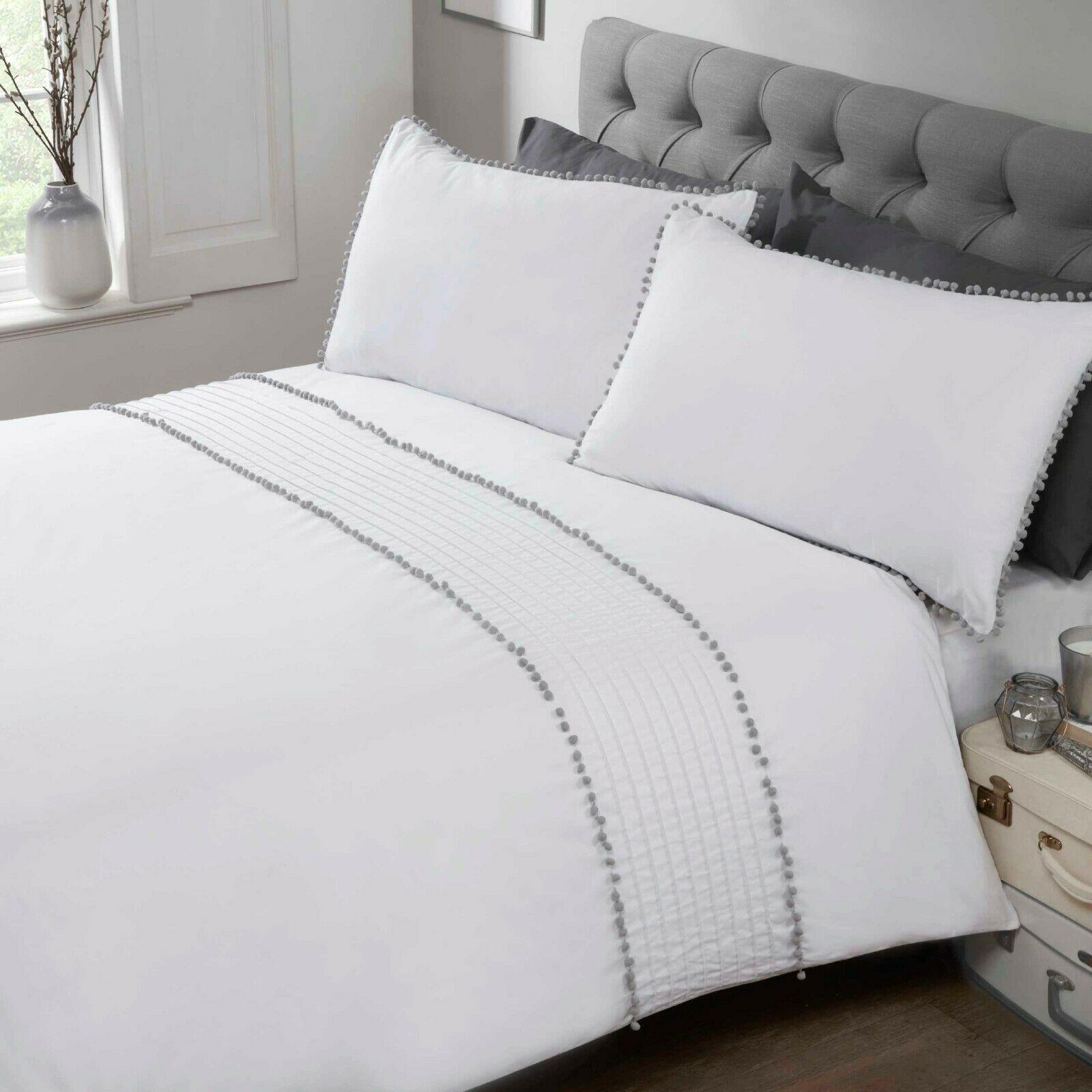Rapport Pom Pom Trim Duvet Cover Bedding Set White Grey Bb