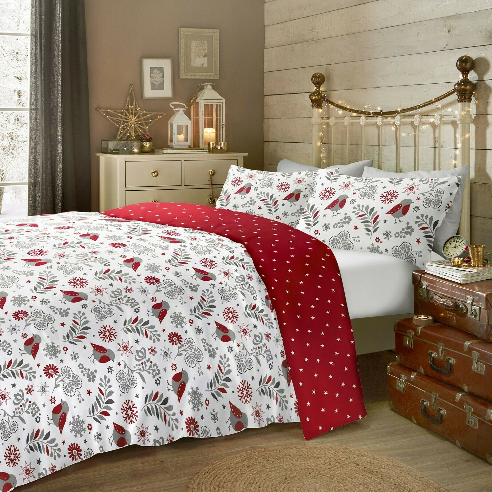 Home Furniture Diy Bedding Sets Duvet Covers Rapport Nordic Duvet Cover Sets Single Double King Red Bortexgroup Com