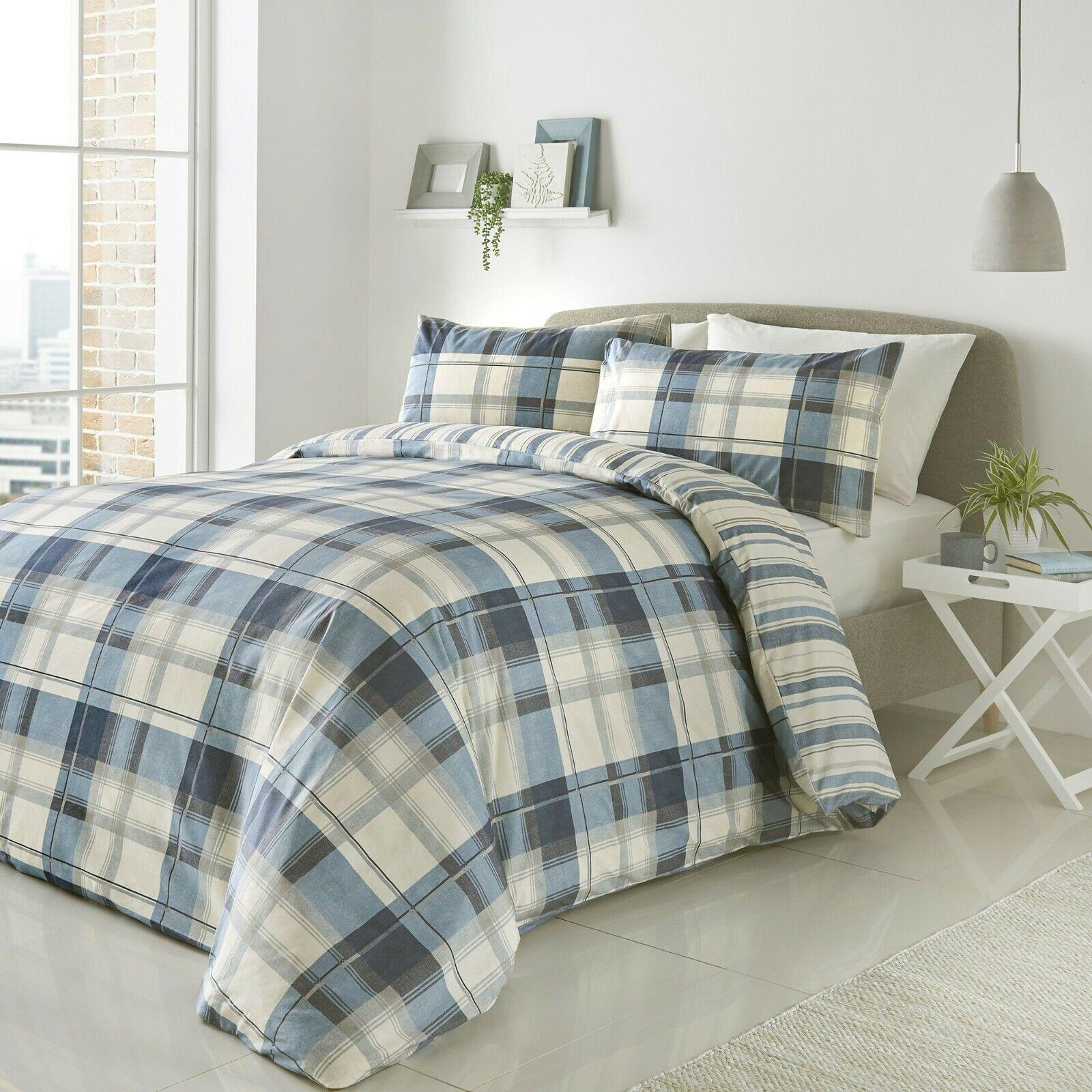 Tartan Stags Reversible Duvet Quilt Cover Bed Set Inc Matching Pillowcases