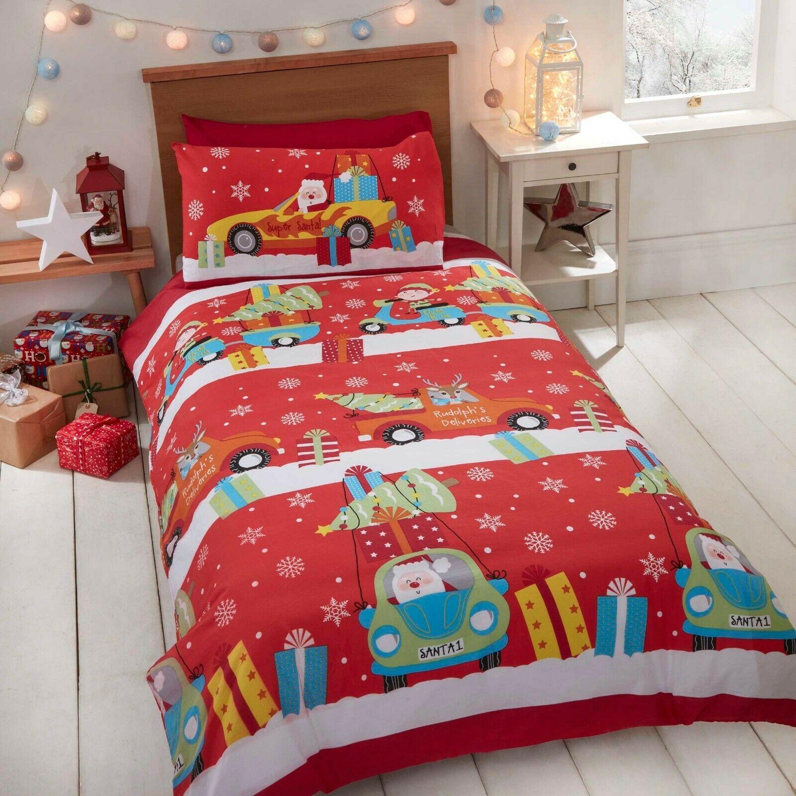 Santa Stop Here Christmas Red Single Duvet Cover And Pillowcase Set Kids Bedding Sfhs Org