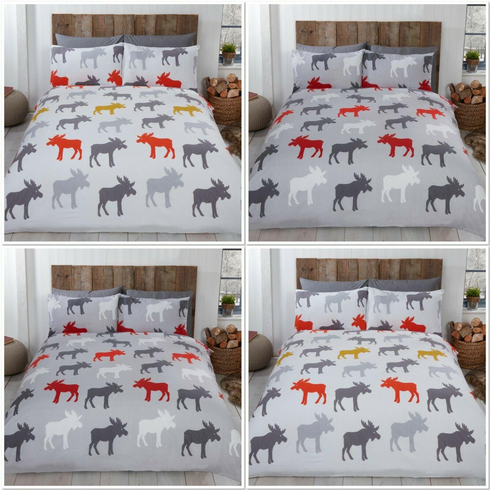 Rapport Moose 100 Brushed Cotton Flannelette Duvet Cover Bed Set