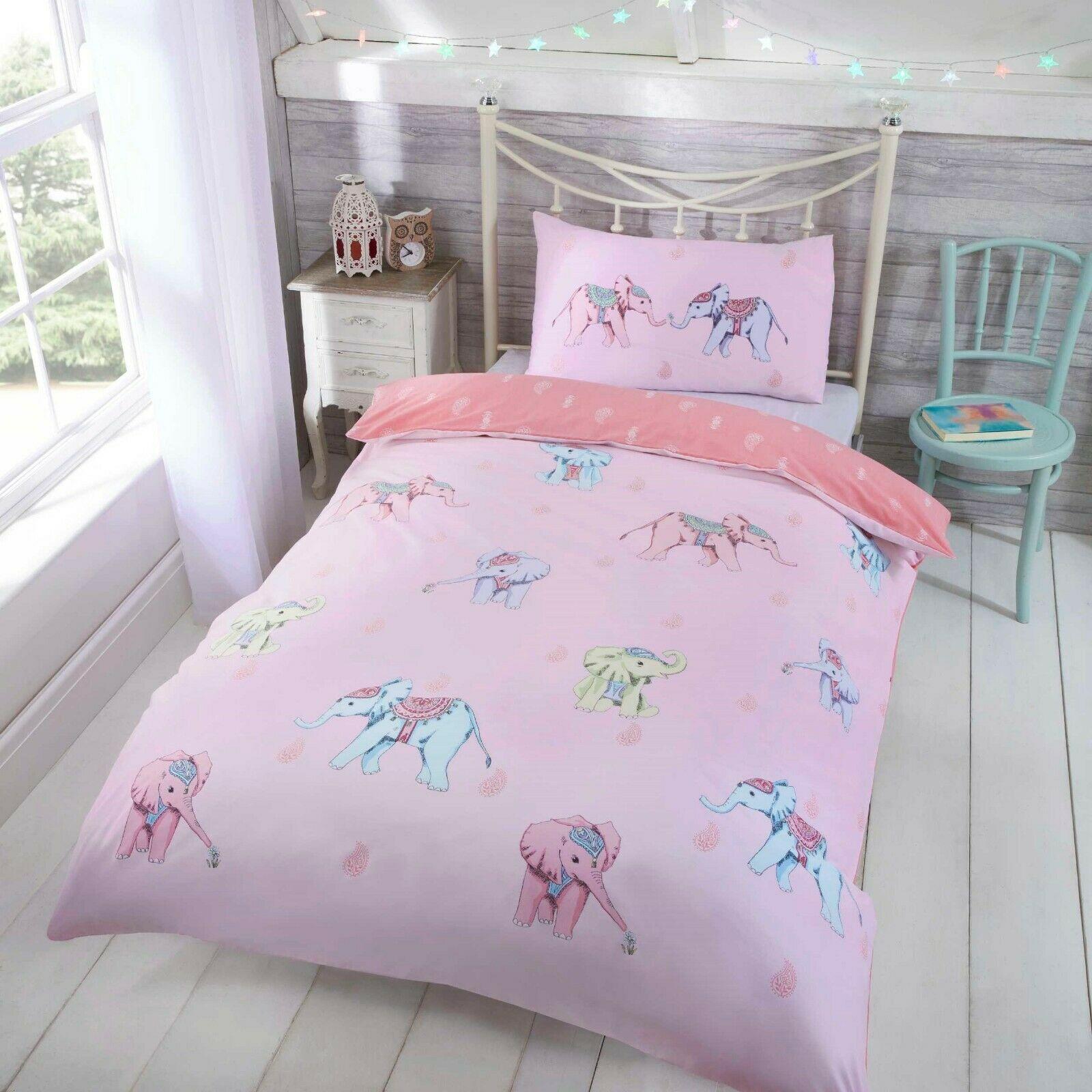 Rapport Kids Children S Ellie Elephant Reversible Duvet Cover Bedding Set Pink Bb Textiles Bb Textiles