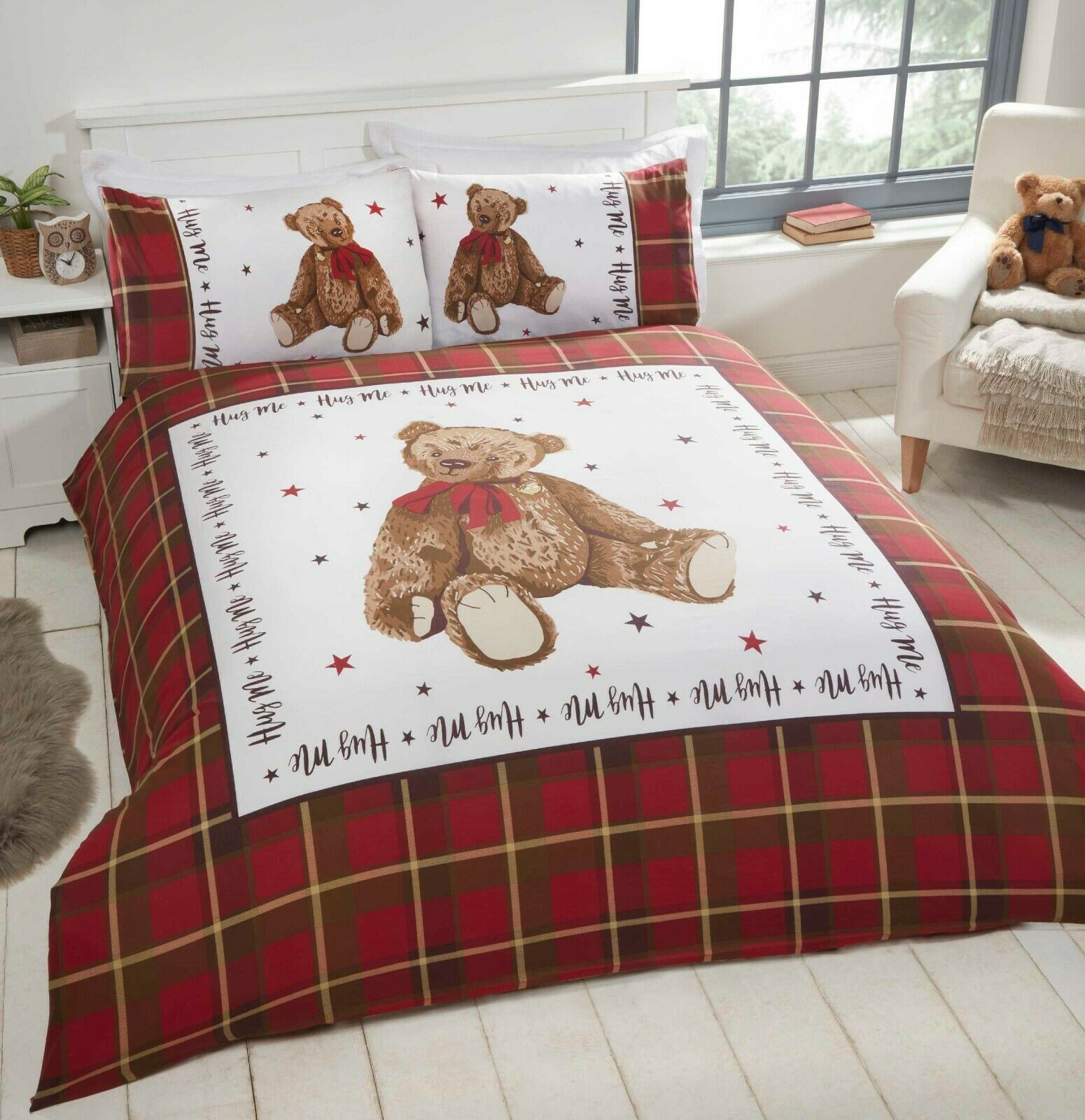 Rapport Hug Me Bear Teddy Reverse Check Childrens Duvet Cover Bed Set Red Bb Textiles Bb Textiles