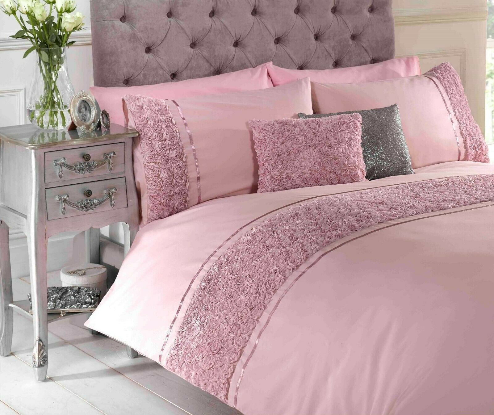Rapport Limoges Roses Ruffles Style Band Duvet Cover Bedding Set Pink Bb Textiles Bb Textiles