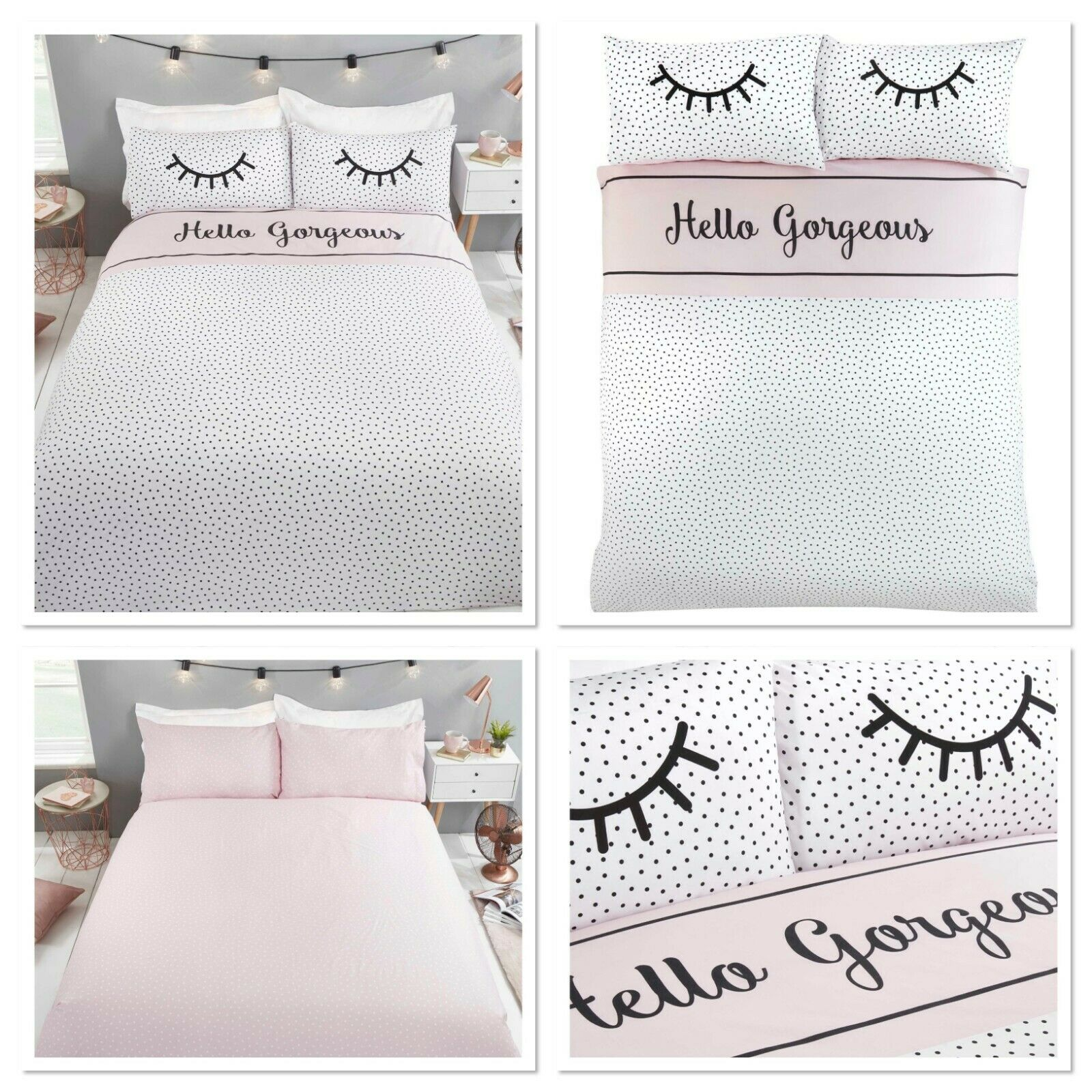 Rapport Hello Gorgeous Polka Dot Reversible Print Duvet Cover Bedding Set Pink Bb Textiles Bb Textiles
