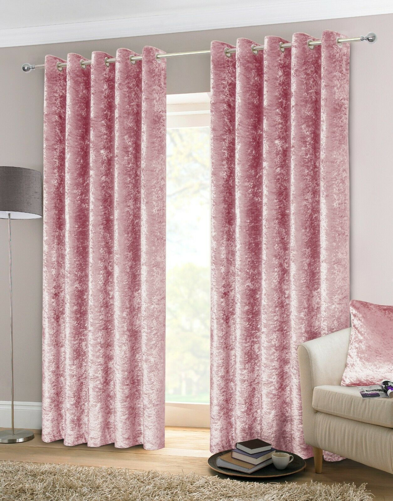 Rapport Luxury Heavy Weight Fully Lined Crushed Velvet Curtains Eyelet Blush Bb Textiles Bb Textiles