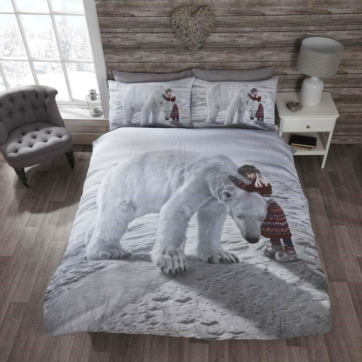 Rapport Anoushka Cute Polar Bear Snow Winter Duvet Cover Bedding Set Multi Bb Textiles Bb Textiles